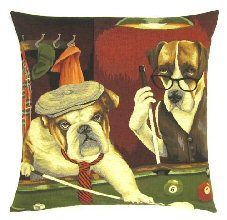 Dogs Playing Pool Belgian Tapestry Cushion