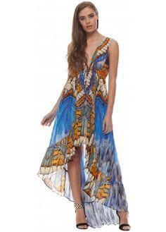 Parides Metamorphosis Blue Crepe Silk Hi Low Dress