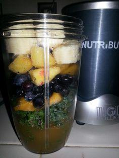 Wednesday NutriBullet smoothie: kale, blueberries, mango, pineapple, banana, chia seeds, apple cider