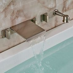 Brushed Nickel Wall Mount Waterfall Bathtub Faucet With Handheld Shower
