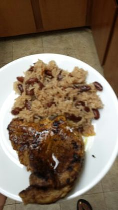 Pork chop and Haitian rice and beans (with coconut milk)