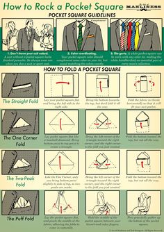 Pocket squares seem straightforward: you stuff it into a pocket then head off to your fancy gathering, right? Turns out it's slightly more complicated, but thankfully The Art of Manliness shows off a variety of folding methods for a pocket square.