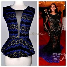 only one small left and two large promotion shopkarriebradshaw KarrieBradshaw.com BLUE AND BLACK LACE EVENING SLIGHT PEPLUM BLOUSE