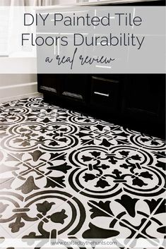 Wondering about painted tile durability? Do you want to know how well painted tiles hold up? We put our DIY painted tiles to the test for you. Painting Bathroom Tiles, Painting Tile Floors, Painted Floors, Diy Painting, Painted Tiles, How To Paint Tiles, Stenciled Tile Floor, Tile Floor Diy, Floor Stencil