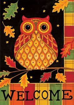 Custom Decor Flag - Welcome Owl Decorative Flag at Garden House Flags