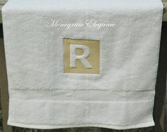 Monogrammed Embossed Initial White Organic Cotton Hand Towel
