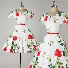 Hey, I found this really awesome Etsy listing at https://www.etsy.com/listing/204598664/vintage-1950s-dress-white-cotton-red