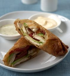 California Pizza Kitchen's Avocado Club Egg Rolls with Ranchito Sauce (straight from their cookbook!)