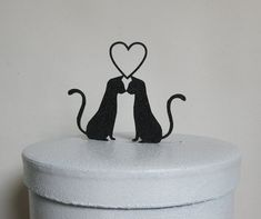 Wedding Cake Topper - Two Cats in Love wedding cake topper #Unbranded