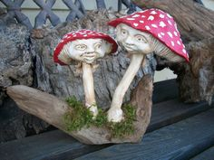 Mushrooms Fly Agaric  air dry clay free by ClayGaloreAndMore,