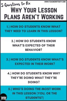 Your Lesson Plans May Not Be Working Top reasons lesson plans flop and 5 questions that can help you prevent them from happening.Top reasons lesson plans flop and 5 questions that can help you prevent them from happening. First Year Teachers, New Teachers, Elementary Teacher, Elementary Education, Teachers Toolbox, School Teacher, Art Education, Education English, Elementary Art
