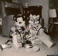 REPRINT of Vtg 60's B&W Photo - 2 Kids in Halloween Costumes Mickey Mouse & Tom