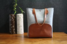 Leather tote bag handmade bagfelt bag tan leather by AlmaMilano