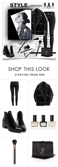 """Black Jeans"" by dorachelariu ❤ liked on Polyvore featuring Anja, Tiger of Sweden, H&M, Balmain, MAC Cosmetics, Yves Saint Laurent, women's clothing, women, female and woman"