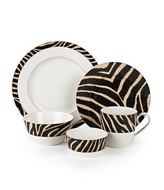 Square Dish Sets Dinnerware | Zebra 16-Piece Square Dinnerware Set ...