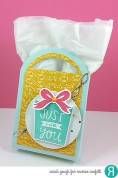 Birthday gift bag by Sarah Gough. Reverse Confetti stamp set: Boxes 'n Balloons. Confetti Cuts: Boxes 'n Balloons, Tagged Tote, and Linked Garland. Quick Card Panels: Party Time. Birthday. DIY gift bag. Celebration. Graduation. Congratulations.