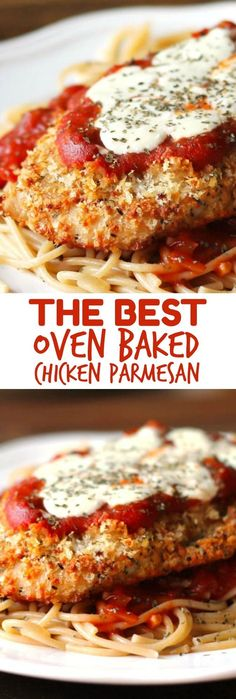 The Best Oven-Baked Chicken Parmesan recipe if you're looking for a healthier chicken parmesan recipe! The Best Oven-Baked Chicken Parmesan recipe if you're looking for a healthier chicken parmesan recipe! Oven Baked Chicken Parmesan, Baked Chicken Recipes, Recipe Chicken, Chicken Parmesan Casserole, Chicken Parmesan Recipe Best, Steak Recipes, Chicken Parmesan Pasta Bake, Baked Food, Sausage Recipes