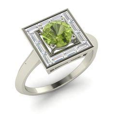 Halo Engagement Ring Certified Peridot & VS Diamond 18Carat White Gold-1.41 CT | eBay