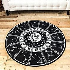 TideTex Fashion Simple Black White Livingroom Rug Bedside Rug Bathroom Rugs Creative Sun Moon Pattern Design Child Bedroom Rug Floor Mat Cozy Washable Non-slip Foot Mat (3'3x3'3, black)