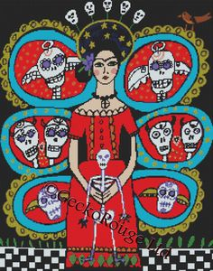 Day of the Dead cross stitch kit by Heather Galler ' by GeckoRouge