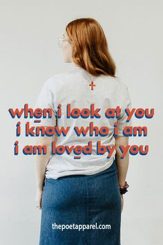 """This t-shirt says """"when I look at you, I know who I am, I am loved by you"""" This Women's Christian T-shirt speaks of God's Truth and Love towards all Women. Wear this Light Grey with Red and Blue text tee to help you, share the gospel and true message of Christianity at church, work, school and the streets of your city. Also the perfect Gift for Women, your Mum, a Grandma, Aunty or Friend who loves Jesus. #christianapparel #jesustees #jesusshirts #christianshirts #christian… Christian Apparel, Christian Clothing, Christian Shirts, 90s Fashion, Fashion Ideas, Youth Groups, Jesus Shirts, Look At You, Christian Faith"""