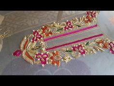Hand embroidery: zardosi work/ resham /tila/ pearls wedding dress part 1 Zardosi Embroidery, Pearl Embroidery, Embroidery Neck Designs, Embroidery Suits Design, Bead Embroidery Patterns, Hand Work Embroidery, Embroidery Flowers Pattern, Couture Embroidery, Indian Embroidery