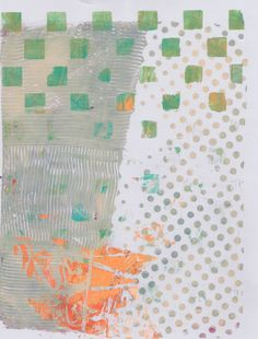"""""""Dot Orange Gray"""" by Sharon Giles original acrylic monotype Orange Grey, Gray, Dots, Quilts, Blanket, The Originals, Abstract, Stitches, Summary"""