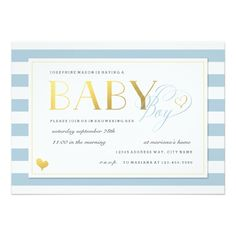 Blue and White Stripe Baby Boy Shower Gold Accents 5x7 Paper Invitation Card