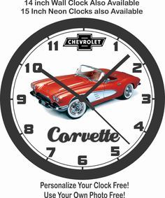 Details About 1961 Chevrolet Corvette Wall Clock Free Usa Ship Neon Clock Chevrolet Corvette Beautiful Clock