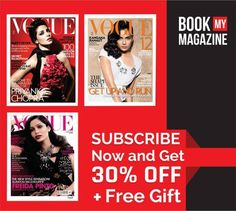 Vogue is one of the leading fashion magazines. Get the latest Vogue every month, subscribe now with offer of 30% off + Free Gift. Do It While the offer still lasts! #BookMyMgazine #Magazine #VogueIndia #FashionMagazine #SubscribeNow #GreatOffers