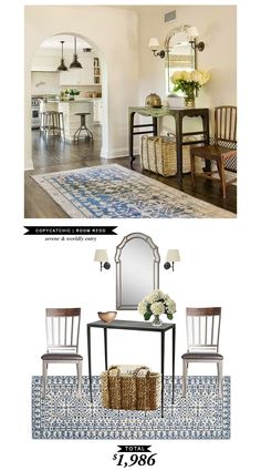 A serene and wordly entrway designed by Christine Markatos Lowe and recreated by @audreycdyer for only $1986 #roomredo