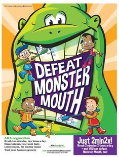 February is National Children's Dental Health Month! You can help your kiddos defeat Monster Mouth with that's two minutes of brushing twice every day. Dental Kids, Dental Care, Children's Dental, Dental Health Month, Oral Health, Health Care, Dentistry For Kids, Dental World, Salud