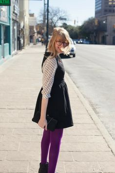polka dot blouse under LBD