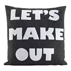 """Alexandra Ferguson It Start With A Kiss Let's Make Out Throw Pillow Color: Charcoal & White Felt, Size: 22"""" H x 22"""" W"""