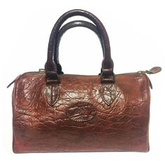 Vintage Mulberry brown croc embossed leather mini handbag by Roger Saul. 1