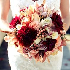 Fall Wedding Ideas - A rustic autumn wedding in Sparta, NJ with orange and blush decor by Luna Blue Studio. Fall Wedding Bouquets, Fall Wedding Flowers, Fall Wedding Colors, Floral Wedding, Wedding Orange, Fall Flowers, Our Wedding, Dream Wedding, Flower Arrangements