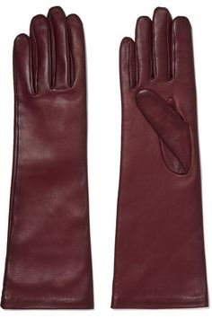 Agnelle | Leather gloves | NET-A-PORTER.COM Top Designer Brands, Designer Shoes, Leather Gloves, Shopping Bag, Christian Louboutin, Burgundy, Ankle Boots, Pairs, Purses