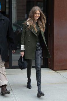 Gigi Hadid Leather Pants - Gigi Hadid completed her tough-chic look with black leather skinnies by Frame.