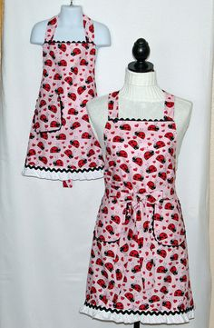 Matching Aprons Ladybug Mom and Daughter Little Girl