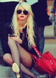 fishnets + red lips = perfection.