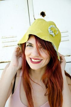 Linen Sun Hat Chartreuse and Gingham reversible by karmologyclinic, $28.00