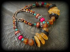 Honey Amber Howlite and Wood Woven Glass Beaded Hoop by YuccaBloom, $42.00