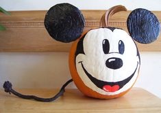 Painted Mickey Mouse Pumpkin!!!  Success!!!