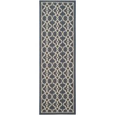 Shop for Safavieh Indoor/ Outdoor Courtyard Navy/ Beige Rug (2'7 x 8'2). Get free shipping at Overstock.com - Your Online Home Decor Outlet Store! Get 5% in rewards with Club O!