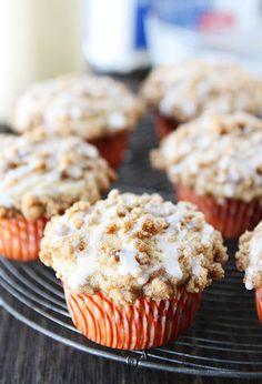 Use leftover eggnog to make these yummy Eggnog Coffee Cake muffins. Complete with an eggnog glaze, this sweet treat is perfect to serve on Christmas morning.
