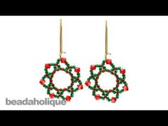 How to Bead Weave the Festive Holiday Flower Earrings - YouTube
