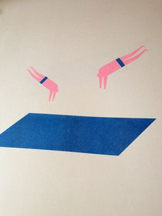 Divers A3 risograph print on Munken paper by ficklefate on Etsy