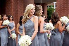 lovely silvery bridesmaid's gowns from Christopher Confero Design | via junebugweddings.com