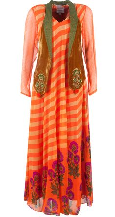 Orange printed dress with jacket by ANUPAMAA DAYAL. http://www.perniaspopupshop.com/designers-1/anupamaa-dayal/anupamaa-dayal-orange-printed-dress-with-jacket-adc0913as8633.html