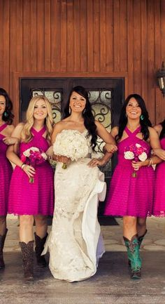 Loving the hot pink on these bridesmaids! {The Mill Photography Studio}